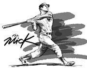Fast Ball Art - The Mick by Ron Regalado