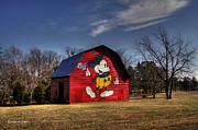 Red Barns Framed Prints - The Mickey Barn Framed Print by Benanne Stiens