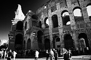 Queue Framed Prints - the mid morning queue of tourists queuing around the side of the Colosseum to gain entry Rome Lazio Italy Framed Print by Joe Fox