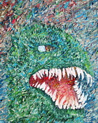 T-rex Prints - The Might That Came Upon The Earth To Bless - Godzilla Portrait Print by Fabrizio Cassetta