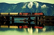 Lake Pend Oreille Posters - The Mighty Burlington Northern Poster by Benjamin Yeager