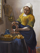 Old Pitcher Painting Prints - The Milkmaid Print by Caroline  Stuhr