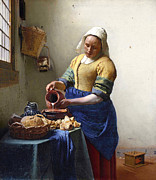 Pour Painting Framed Prints - The Milkmaid Framed Print by Jan Vermeer