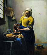 Jan Vermeer Paintings - The Milkmaid-study by Kenneth Karl
