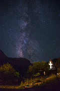 Scenic Prints - The Milky Way to the Chapel Print by Aaron S Bedell