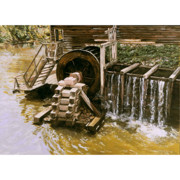 Grist Mill Paintings - The Mill At Philipsburg Manor  by Eleanor Gilpatrick