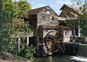 Gatlinburg Painting Framed Prints - The Mill at Pigeon Forge Framed Print by Marla J McCormick