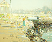 Group Of People Prints - The Mill Dam Cos Cob Print by Childe Hassam