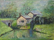 Pallet Knife Prints - The Mill in the Mist Print by William Killen
