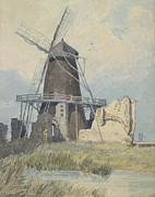 Grassy Field Posters - The Mill St Benets Abbey Poster by John Sell Cotman