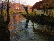 Reflecting Sunset Posters - The Mill Stream Poster by Fritz Thaulow
