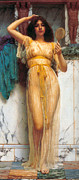 Romanticism Posters - The Mirror Poster by John William Godward