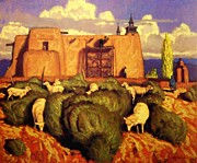 Rural Landscapes Pastels - The Mission at Las Trampas by Doyle Shaw