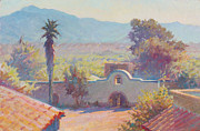 Arizona Artists Paintings - The Mission at Tubac by Ernest Principato