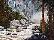 Mountain Stream Paintings - The Mist at Bridalveil Falls by Darice Machel McGuire