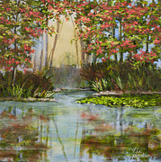 Tan Lily Paintings - The Mist Beyond with Gold Leaf by Vic Mastis by Vic  Mastis