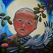 Night Angel Paintings - The Mockingbirds Carol by Teri Tompkins