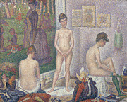 Dot Painting Framed Prints - The Models Framed Print by Georges Pierre Seurat