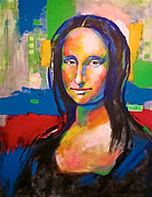 Cellphone Painting Posters - The Mona Lisa Poster by Leon Crown