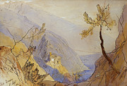 Mountain Valley Drawings - The Monastery of St Dionysius Mount Athos by Edward Lear