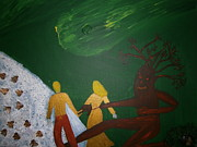 Green Monster Paintings - The monster and the awesome couple by Tania  Katzouraki