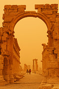 Camel Photo Metal Prints - The Monumental Arch at Palmyra Syria in the light after a sandstorm Metal Print by Robert Preston