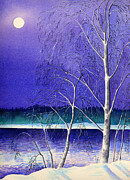 Silver Moonlight Paintings - The moon and birch trees by Kate Shannon