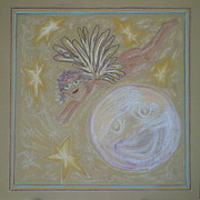 Virgin Mary Pastels Prints - The Moon Angel Print by Lyn Blore Dufty