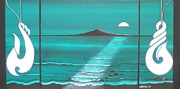 Aotearoa Paintings - The Moon over Rangitoto by Astrid Rosemergy