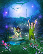 Fairy Dust Framed Prints - The Moonlight Fairies Framed Print by Jayne Wilson