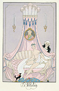 Voyeuristic Framed Prints - The Morning Framed Print by Georges Barbier