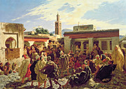 Bazaar Paintings - The Moroccan Storyteller by Alfred Dehodencq
