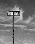 M.l. Posters - THE MOTEL SIGN BW Palm Springs Poster by William Dey