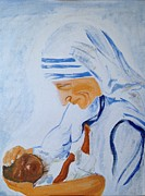 Mother Teresa Paintings - The Mother by Brindha Naveen