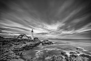 Ocean Black And White Prints Prints - The Motion of the Lighthouse Print by Jon Glaser