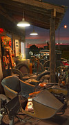 Wheels Digital Art Prints - The Motorcycle Shop 2 Print by Mike McGlothlen