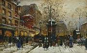 Entertainment Painting Prints - The Moulin Rouge Paris Print by Eugene Galien-Laloue