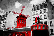 Vintage Paris Posters - The Moulin Rouge vintage retro depiction in black and white with red elements Poster by Michal Bednarek