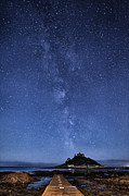 Cornwall Posters - The mount and the milkyway Poster by John Farnan