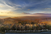Fences Prints - The Mountains of Brasstown Bald Print by Debra and Dave Vanderlaan