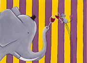 Elephant Painting Prints - The Mouse and the Elephant Print by Christy Beckwith