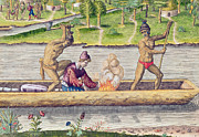 Canoe Art - The Murder of a Frenchman by Jacques Le Moyne