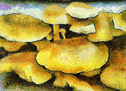 Nature Medicine Paintings - The mushroom family by Odon Czintos