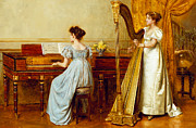 Harp Framed Prints - The Music Room Framed Print by George Goodwin Kilburne