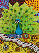 Musical Notes Drawings Prints - The musical Peacock Print by Alexandra Benson