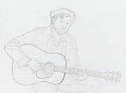 Acoustic Guitar Drawings - The Musician by Brady Lane