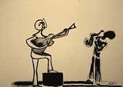 Michael Drawings Framed Prints - The Musicians Framed Print by Michael Kulick