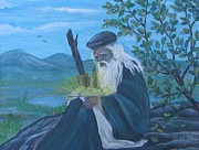 Wise Old Man Paintings - The Mystic by Radha Flora Cloud