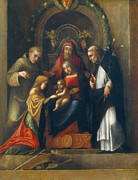 Virgin Mary Paintings - The Mystic Marriage of St Catherine by Antonio Allegri Correggio