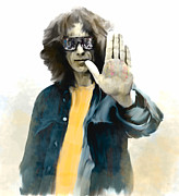 Concert Images Prints - The Mystical One George Harrison Print by Iconic Images Art Gallery David Pucciarelli